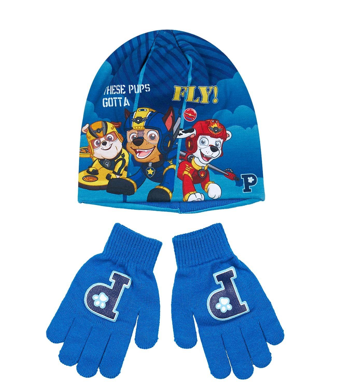Paw Patrol Jungen 2 tlg Set bestehend aus: Mütze und Handschuhe - blau