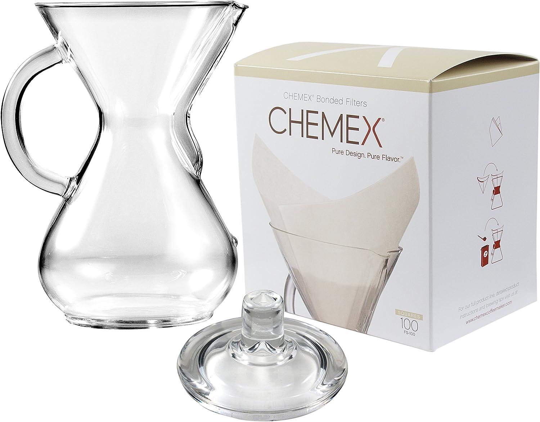 Chemex cristal 40 oz cafetera eléctrica con tapa y 100 Count ...