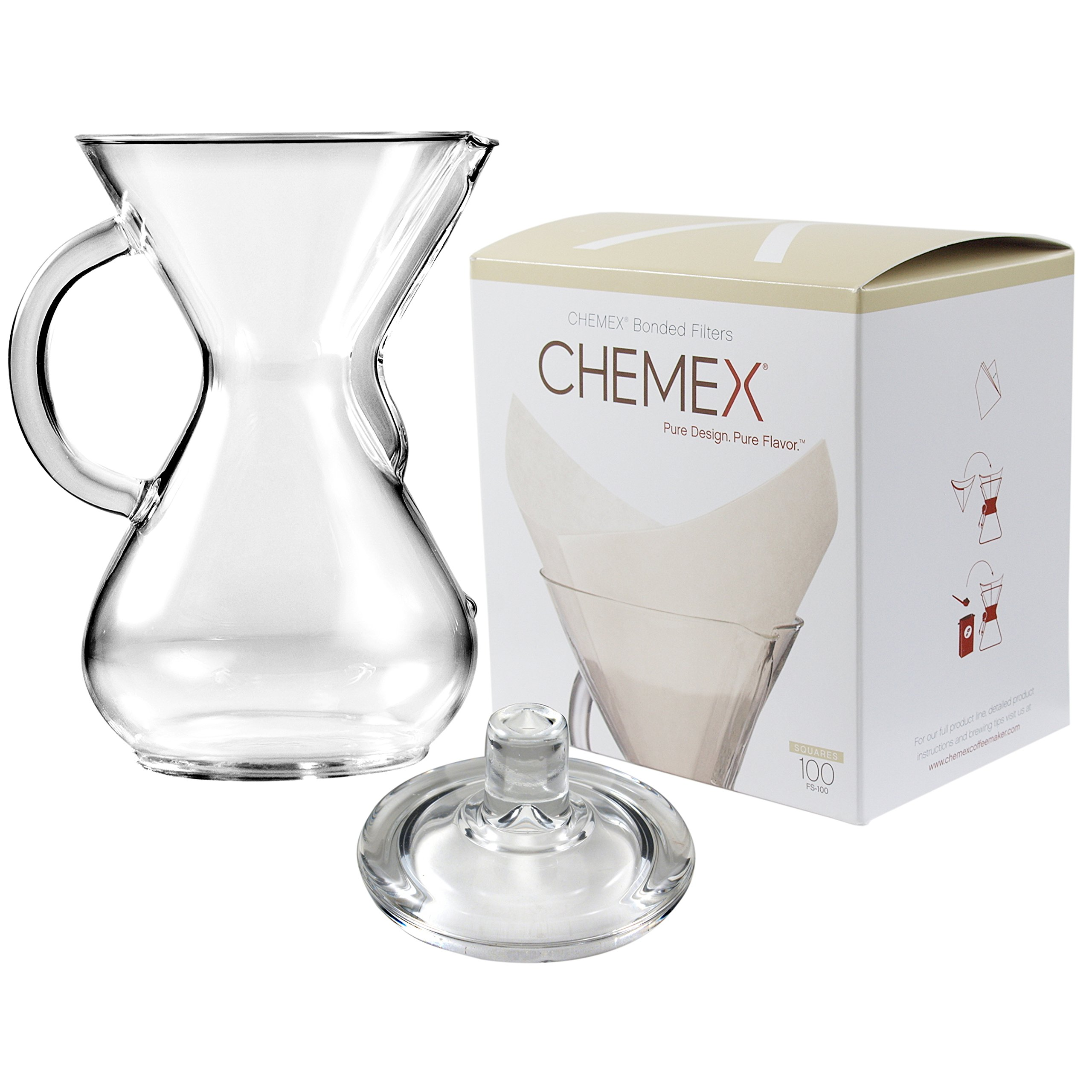 Chemex Glass 40 Ounce Coffee Maker with Cover and 100 Count Oxygen Cleansed Bonded Square Coffee Filters