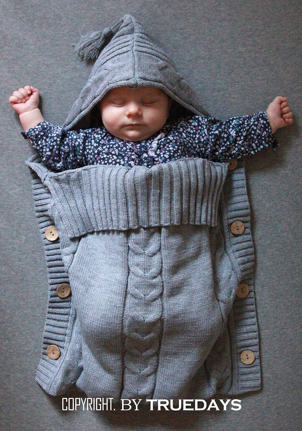 Newborn Baby Swaddle Blanket-Truedays Large Swaddle Best Soft for Boys or Girls Grey
