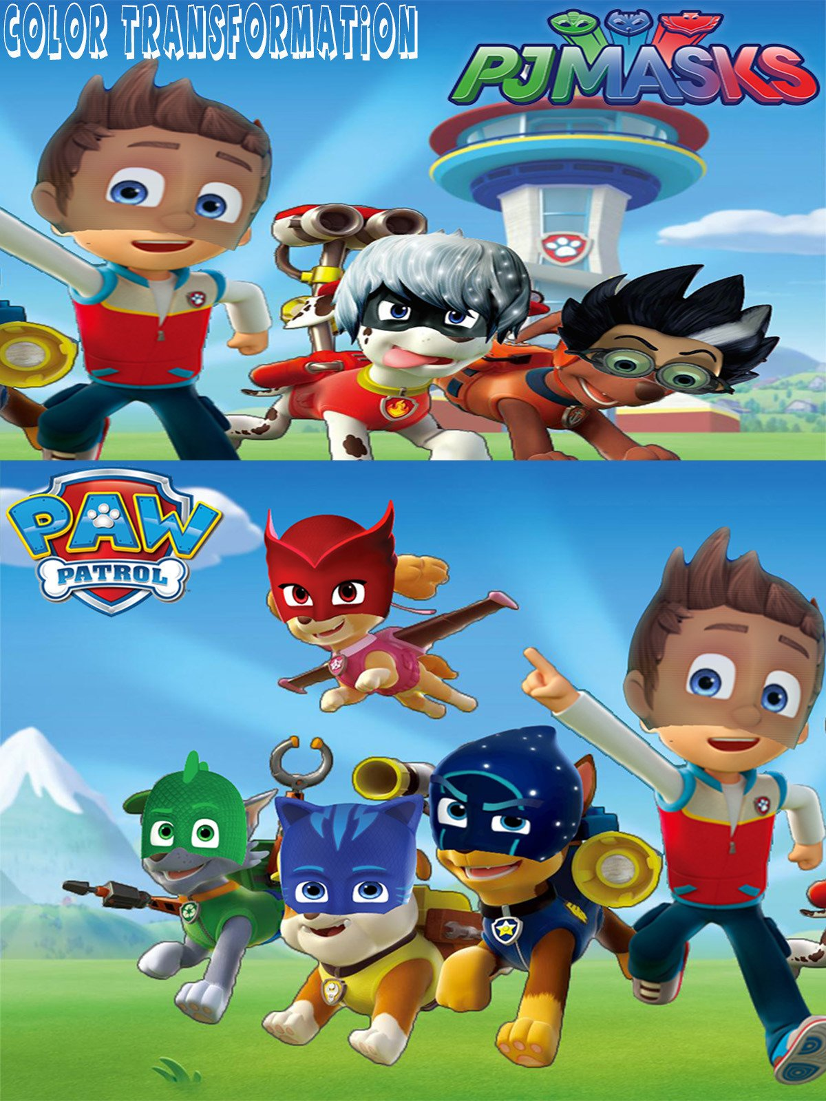 Amazon.com: PAW PATROL Transforms Into PJ MASKS Gekko, Catboy, Owlette, Luna Girl | Coloring Videos For Kids: Kathy, Awesome Toys TV