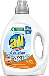 all Liquid Laundry Detergent, Free Clear for Sensitive Skin with OXI, 2X Concentrated, 90 Loads