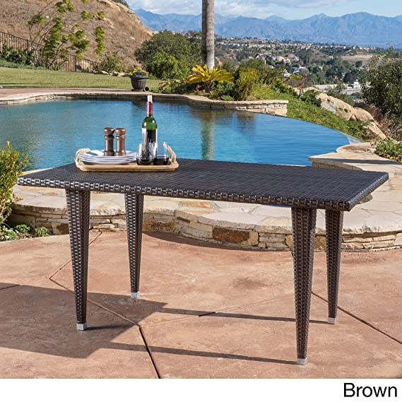 Amazoncom Dominica Outdoor Rectangle Wicker Dining Table ONLY - Outdoor dining table only