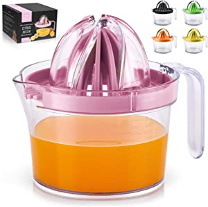 Zulay (17oz Capacity) Citrus Juicer Hand Press - Multifunctional Hand Juicer With Egg Separator, Large Reamer Adaptor, & Built-in Handle - Manual Juicer For Oranges, Lemons, Limes & More (Pink)