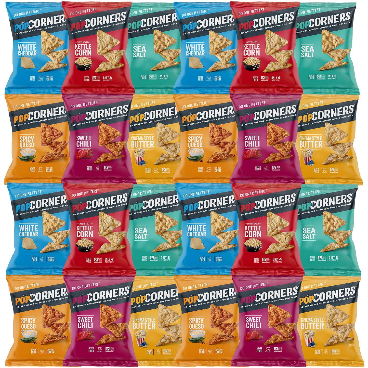Snack Chest Popcorners Mixed Premium Variety Sampler Package, Many Different Flavors, 1 Ounce Bags (24 Count) by Snack Chest