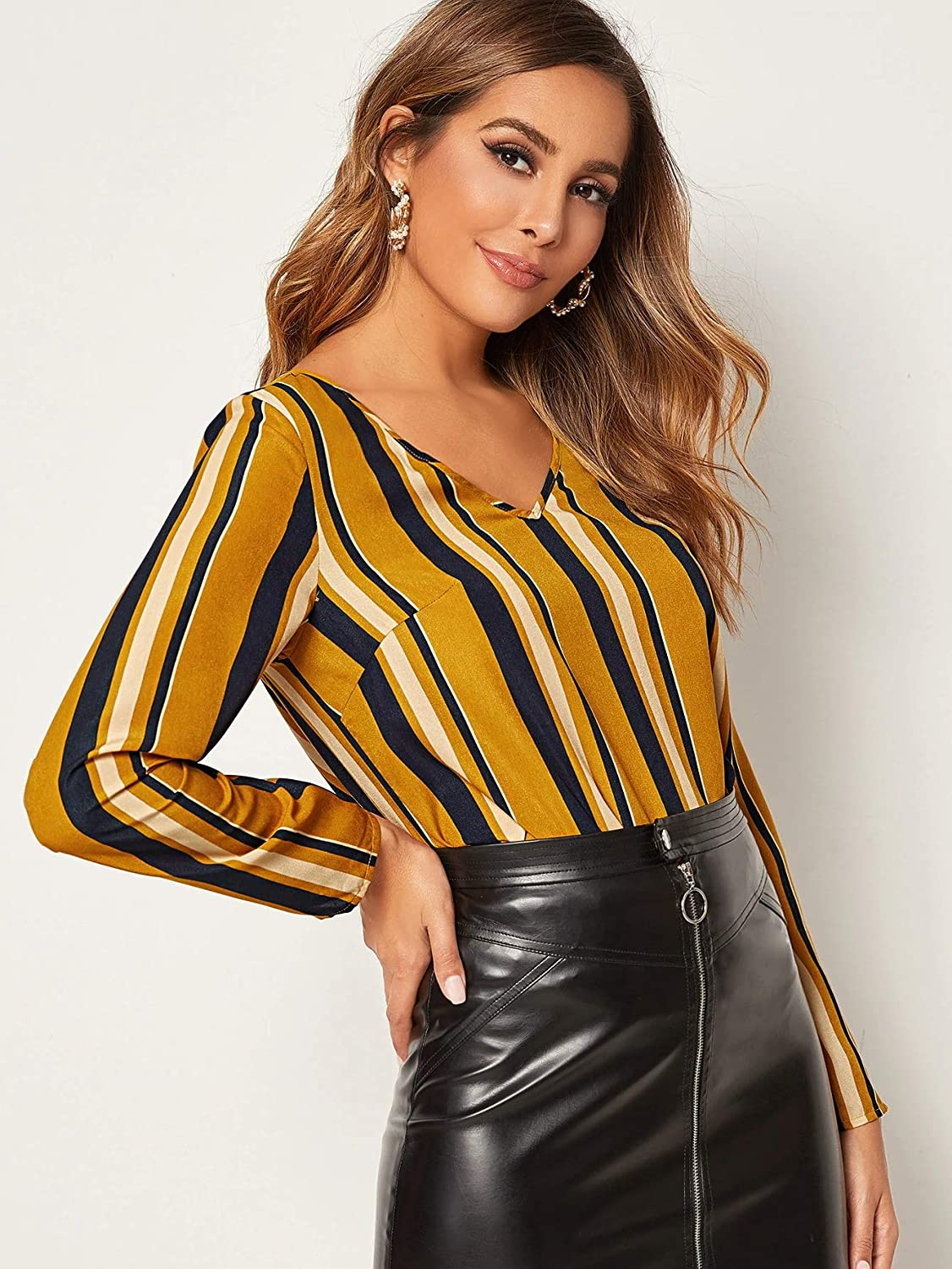 Milumia Womens Casual Striped V Neck Long Sleeve Basic Work Blouse Tops Yellow X-Large