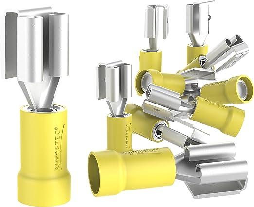 Auprotec 10x Flachsteckhülsen Mit Abzweig 4 6 Mm Gelb Elektronik