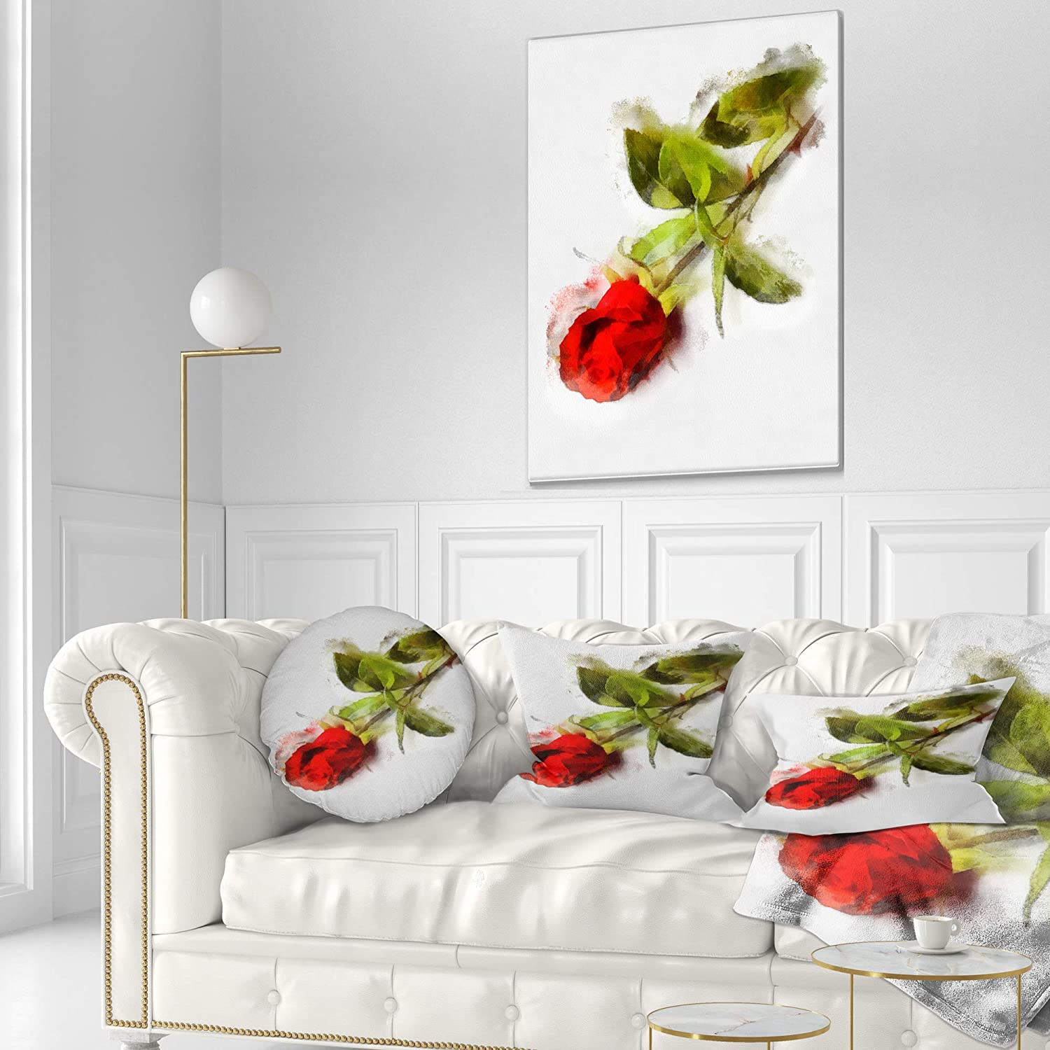 Designart CU13900-16-16-C Red Rose with Stem Drawing Flower Round Cushion Cover for Living Room Sofa Throw Pillow 16 Insert Printed On Both Side