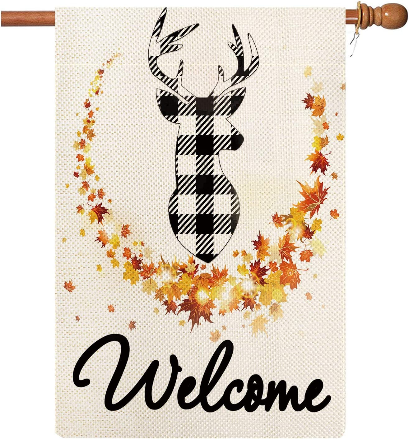 Coskaka Welcome Deer Garden Flag Fall Maple Leaf Deer Outside Decor Vertical Double Sided Autumn House Yard Lawn Flag Outdoor Decor 12.5x18 Inch