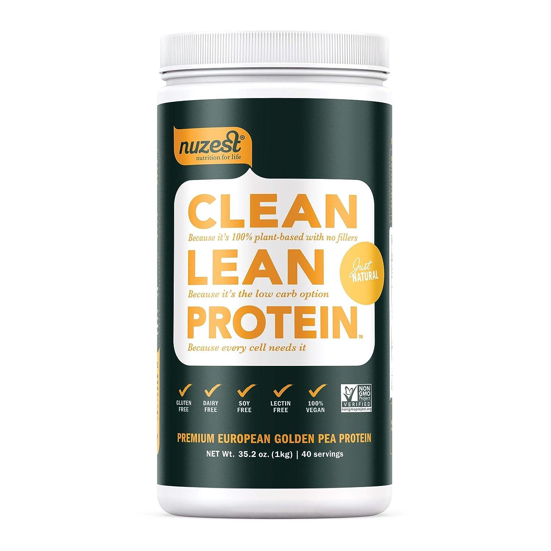 Nuzest Clean Lean Protein – Premium Vegan Protein Powder, Plant Protein Powder, European Golden Pea Protein, Dairy Free, Gluten Free, GMO Free, Just Natural UNFLAVORED , 40 Servings, 2.2 lb