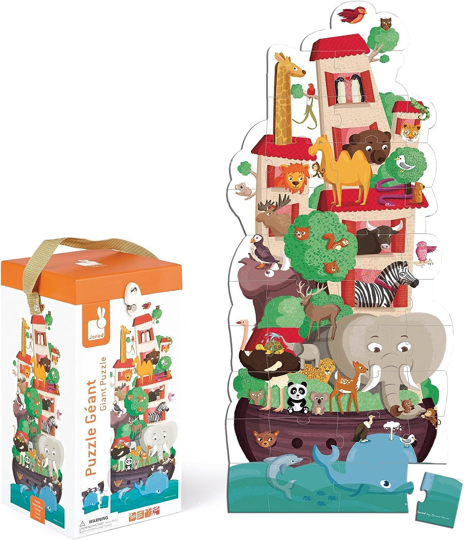 Janod - Maleta Puzzle Gigante Arca de Noé, 39 Piezas (J02997): Amazon.es: Juguetes y juegos