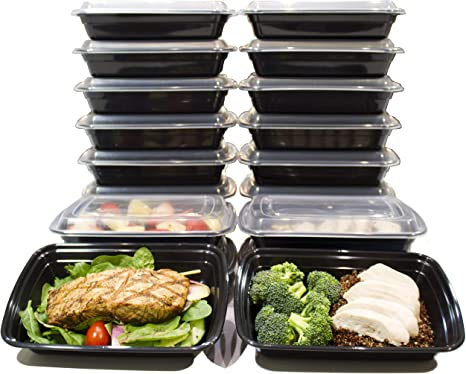 Microwave Meal Prep Food Containers BPA Free Plastic Lunch Box Lid Reusable ES