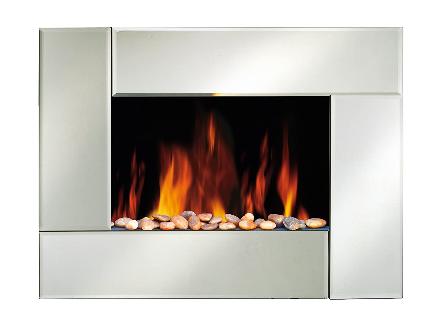 electric wall fire fireplace mounted stylish mirror glass flicker