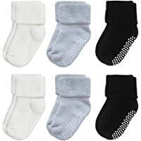 VWU 6 Pack Baby Socks with Grips Toddler Kids Unisex Thick Cotton Socks 0-5T