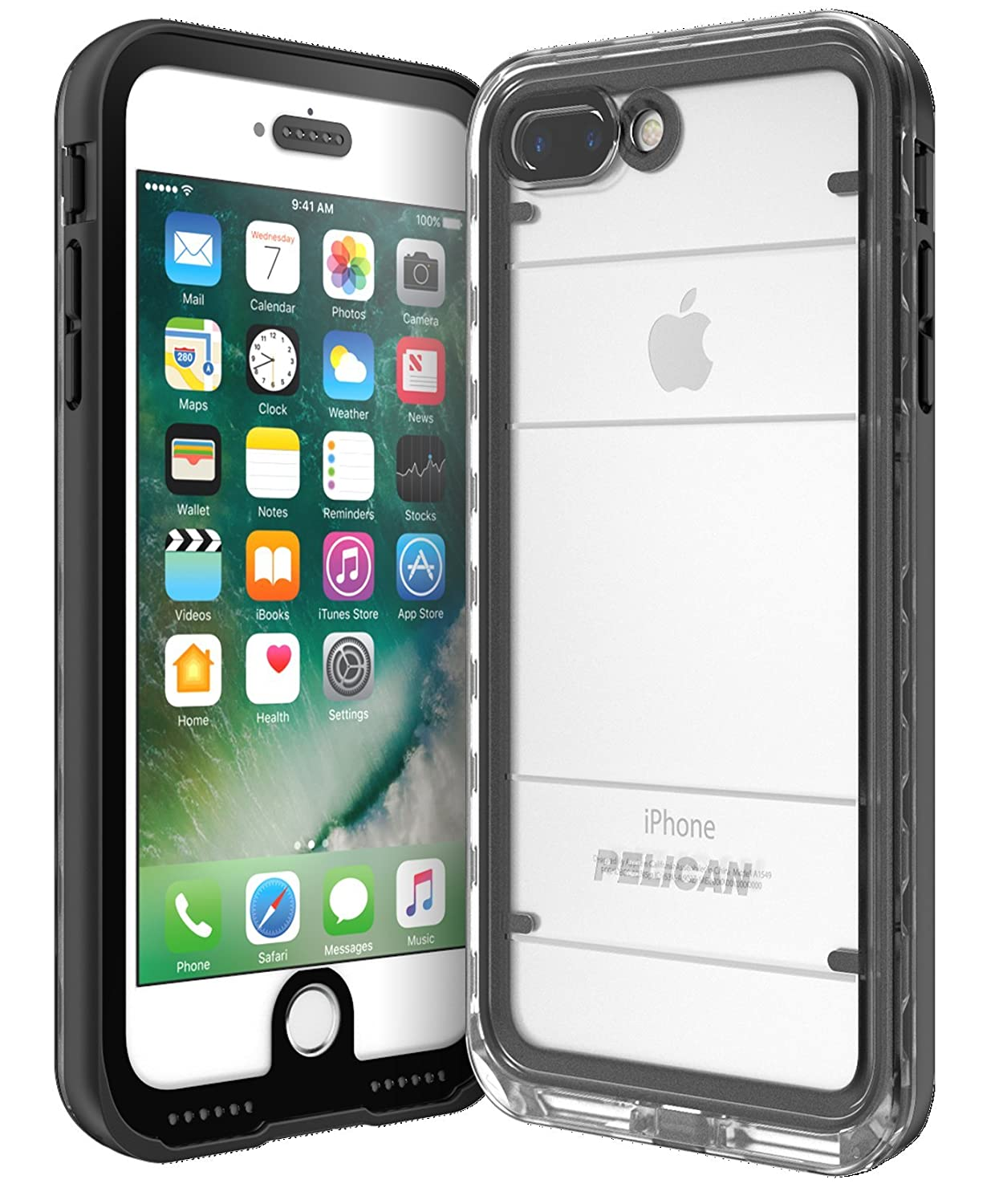 wholesale dealer 42376 e49ae Pelican C24040-001A-BKCL Cell Phone Case for iPhone 7 Plus - Black/Clear