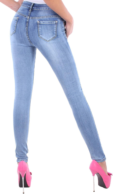 Black Denim BD Jeans Hose Damen Röhrenjeans mit Rissen und Farbklecksen