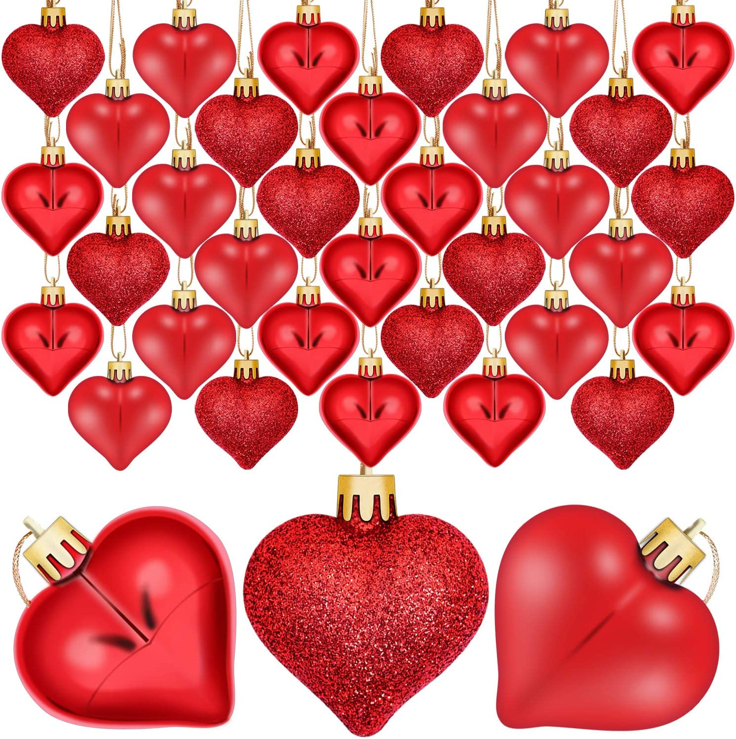 Aneco 36 Pack Valentine's Heart Baubles Heart Shaped Ornaments for Valentine's Day Decoration or Home Decor, 3 Styles