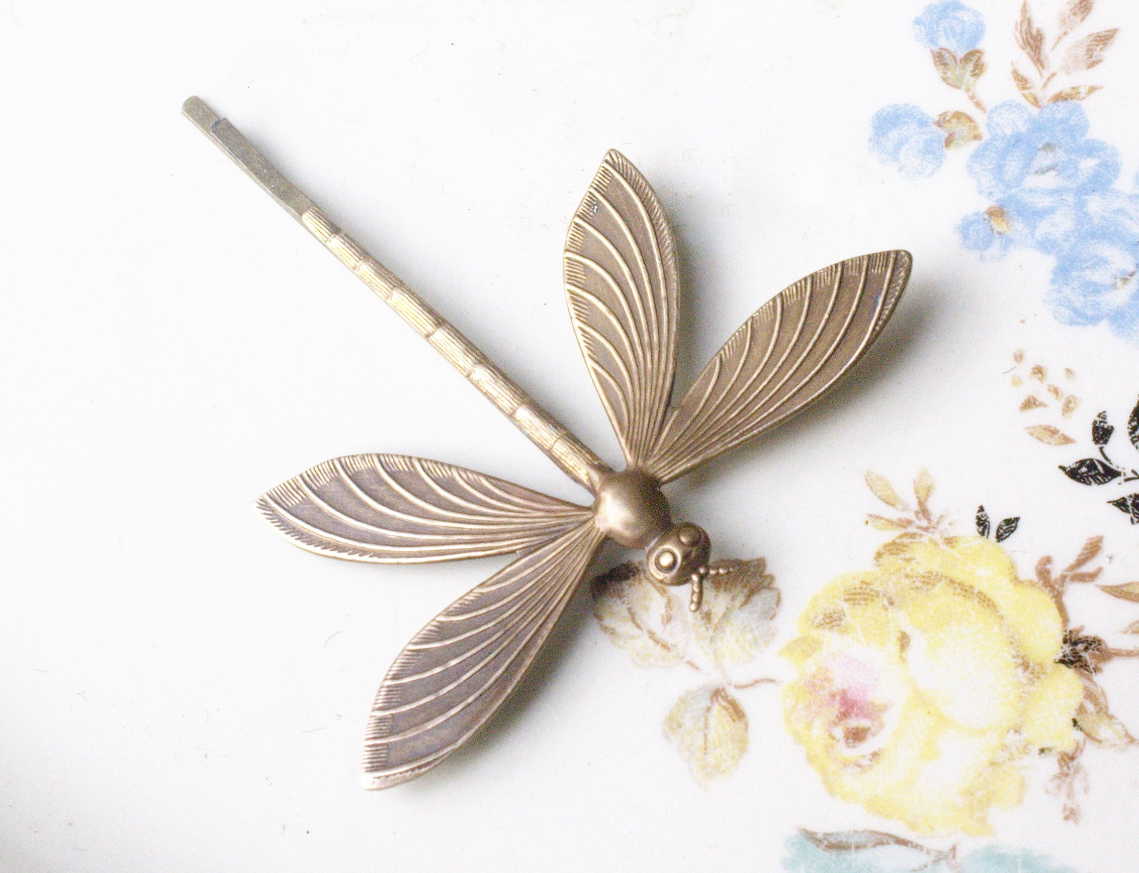 Dragonfly hair pin bronze 1920's art nouveau vintage style bobby pin Victorian bridal spring wedding hair accessory