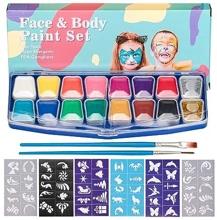 HENMI Kinderschminke Face Paint Set -14 Farben Schminkpalette,2 Glitzer,60 Schablonen,2 Pinsel Kinder Schminkset Ideal für Ki