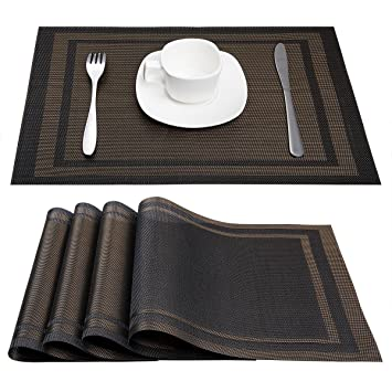 Super Artand Placemats Heat Resistant Placemats Stain Resistant Anti Skid Washable Pvc Table Mats Woven Vinyl Placemats Set Of 4 Black Gold Home Interior And Landscaping Ponolsignezvosmurscom