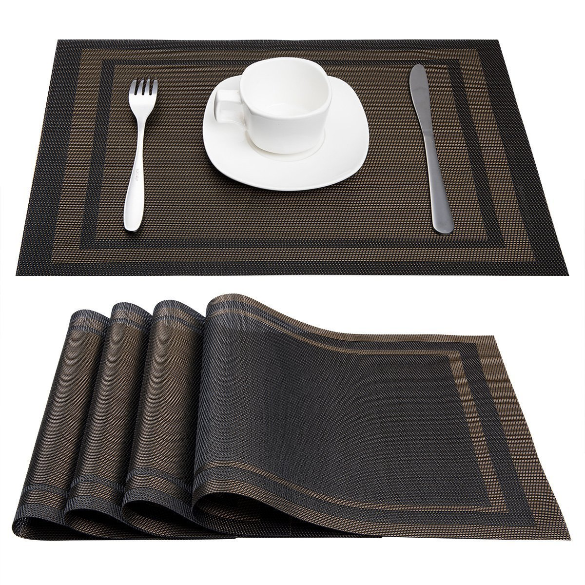 Artand Placemats, Heat-resistant Placemats Stain Resistant Anti-skid Washable PVC Table Mats Woven Vinyl Placemats, Set of 4 (Black+Gold)