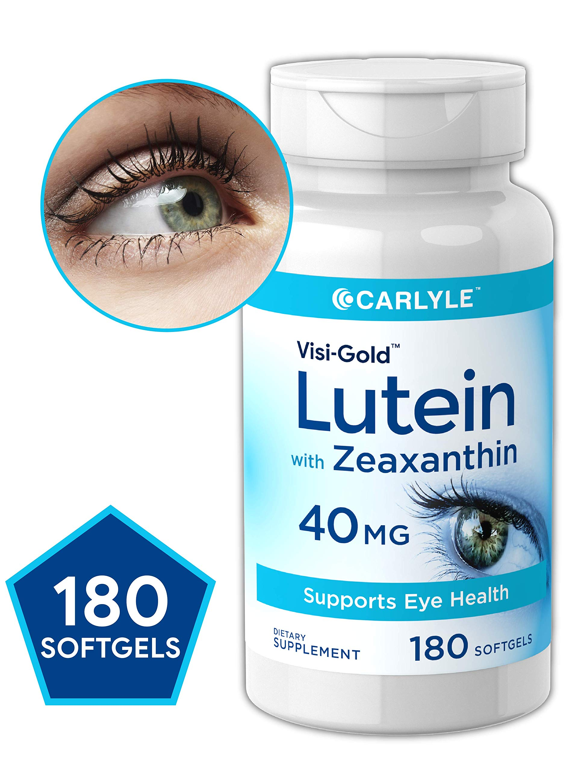 Lutein and Zeaxanthin 40 mg | 180 Softgels | Supports Eye Health | Non-GMO, Gluten Free Supplement | by Carlyle by Carlyle
