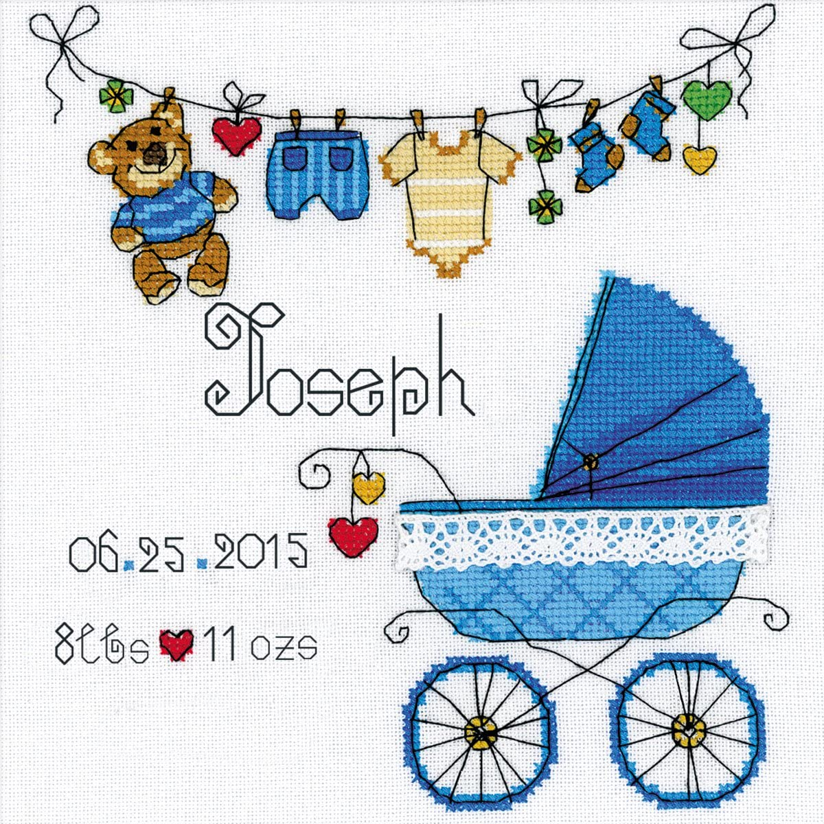 Riolis 28 Count It's a Boy! Birth Record Counted Cross Stitch Kit, 8 by 8-Inch