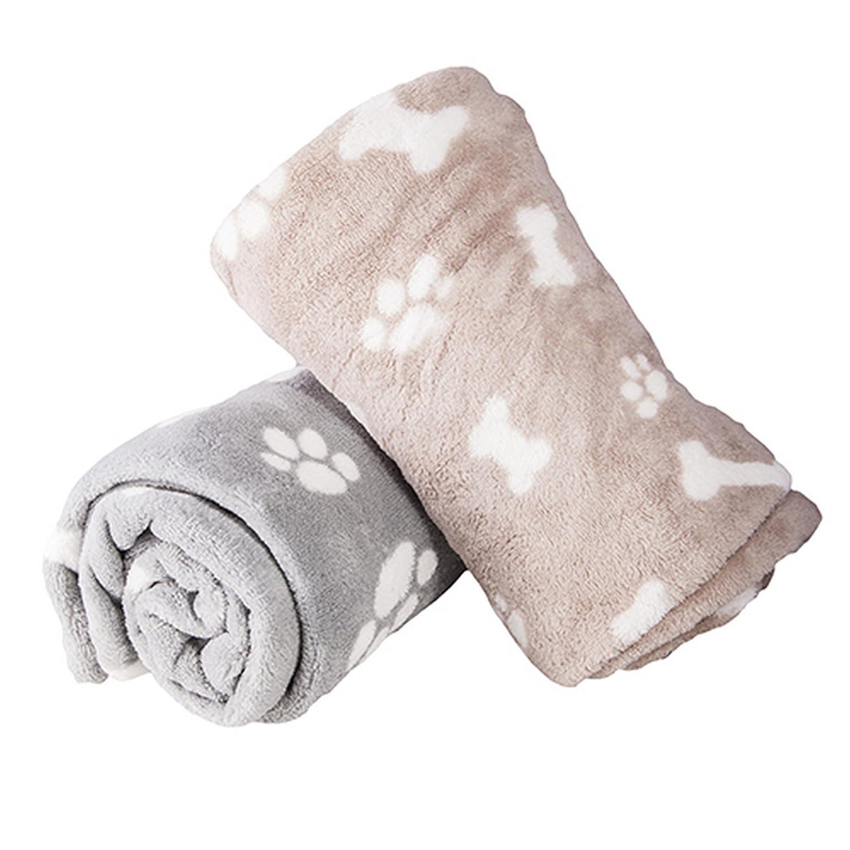 West5Products 1x Super Soft Micro Fibre Paw & Bone Print Design Small Pet Dog Blanket 70x100cm
