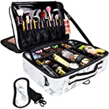 """GZCZ Large Travel Makeup Bag PU Leather Cosmetic Case Organizer 16"""" Professional Makeup Train Case with Adjustable Dividers a"""