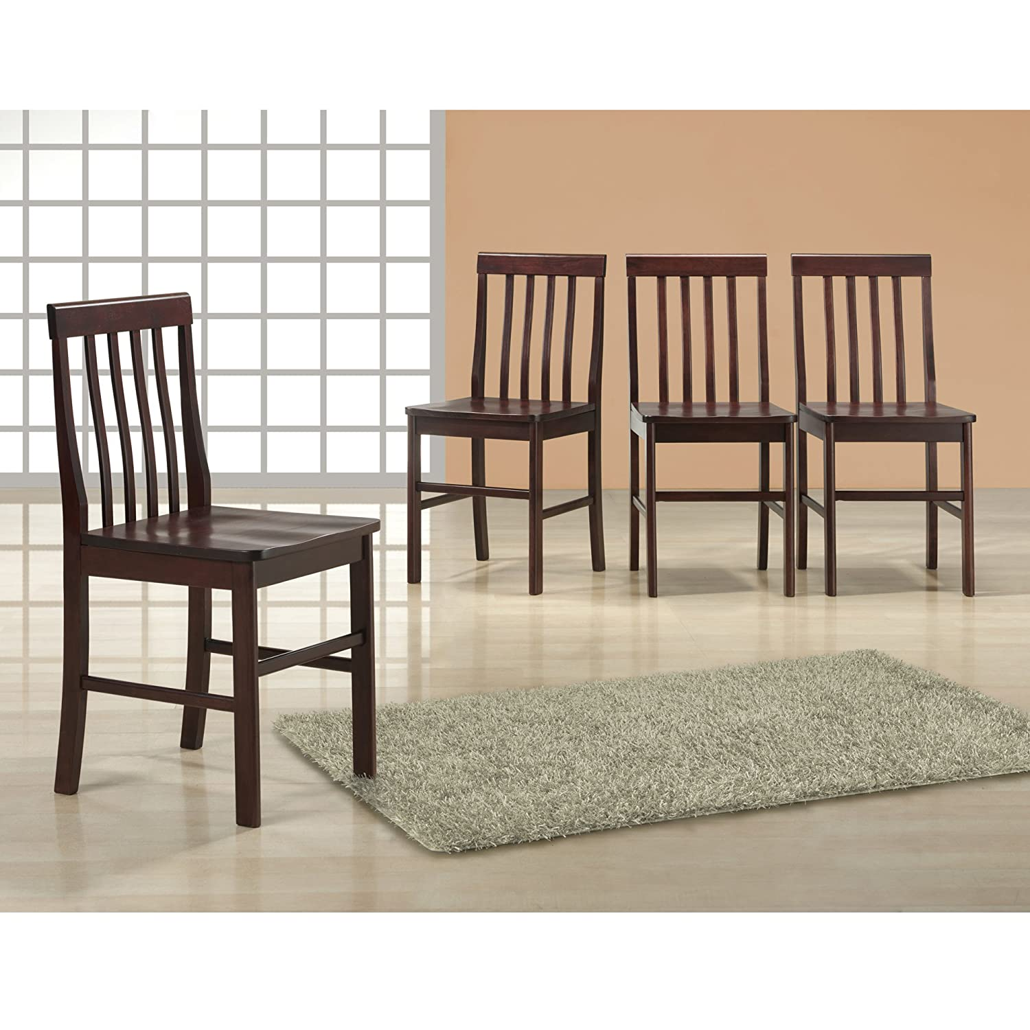Amazon Walker Edison Espresso Wood Dining Chairs Set of 4