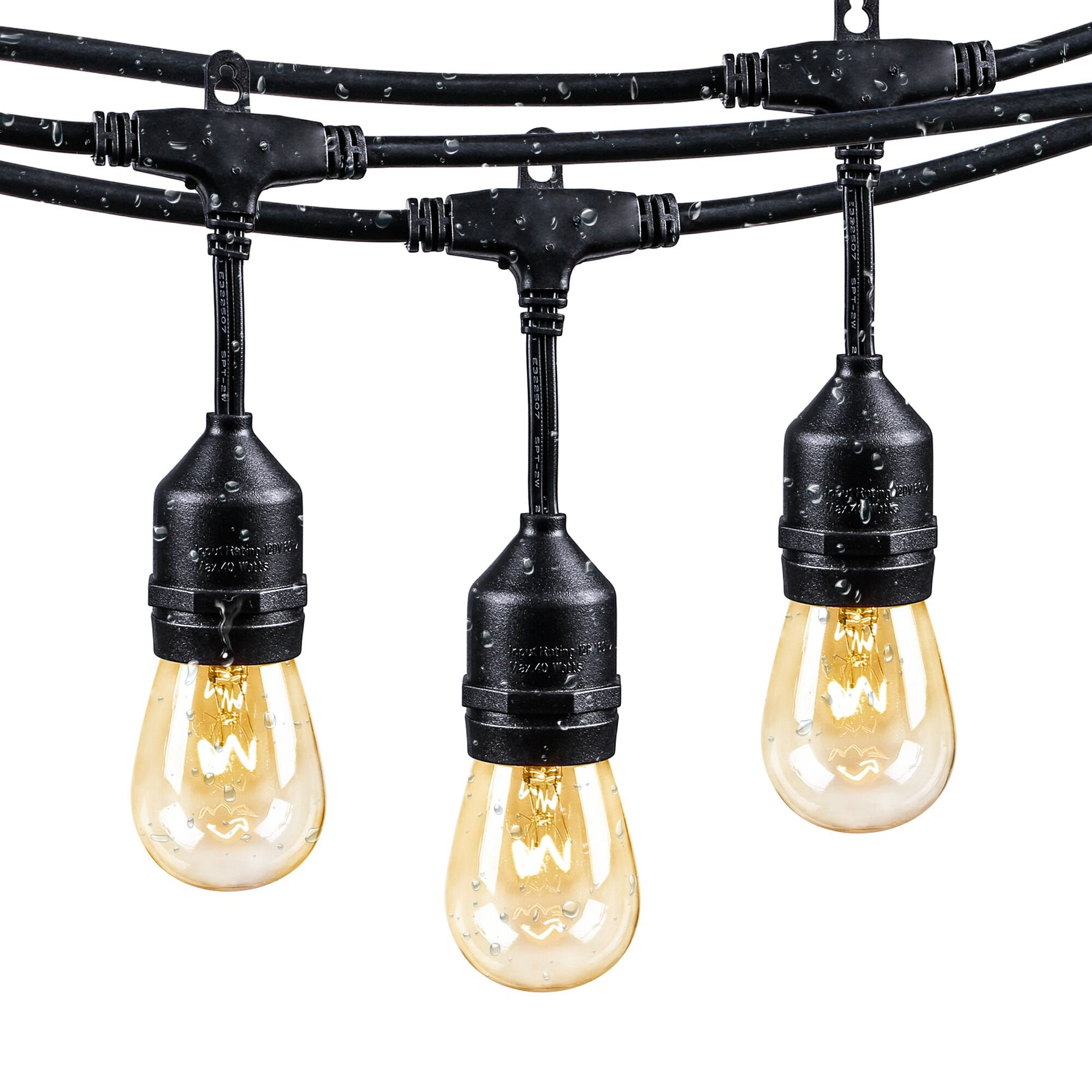 48 Ft String Lights with 15 x E26 Dropped Sockets and 15 x 11 Watt S14 Dimmable Bulbs, Weatherproof Indoor/Outdoor Light Strings, Black