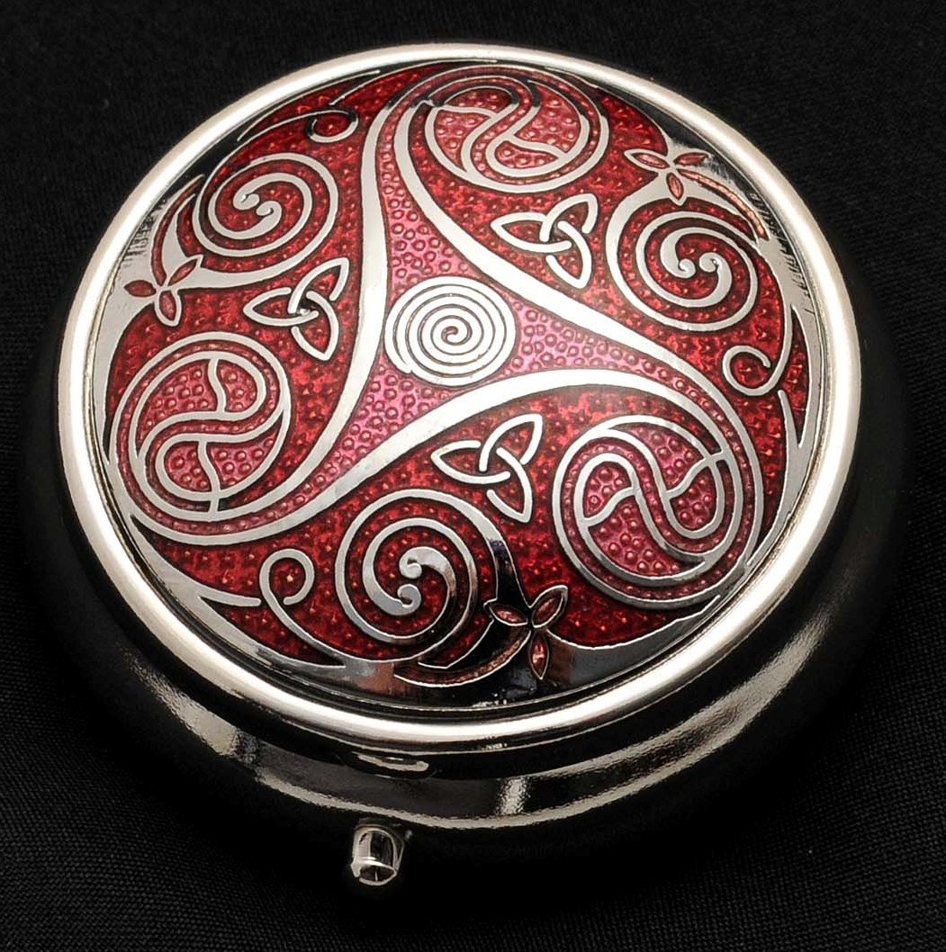 Pill Box (large size) in a Triskeles and Trinity Knot Design in Red Color by Sea Gems