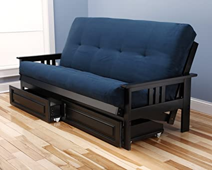Incredible Mission Style Black Wood Frame Futon With Storage Drawers Convertible Full Size Innerspring Mattress Cover Use As Bed Sofa Sofabed Or Couch Inzonedesignstudio Interior Chair Design Inzonedesignstudiocom