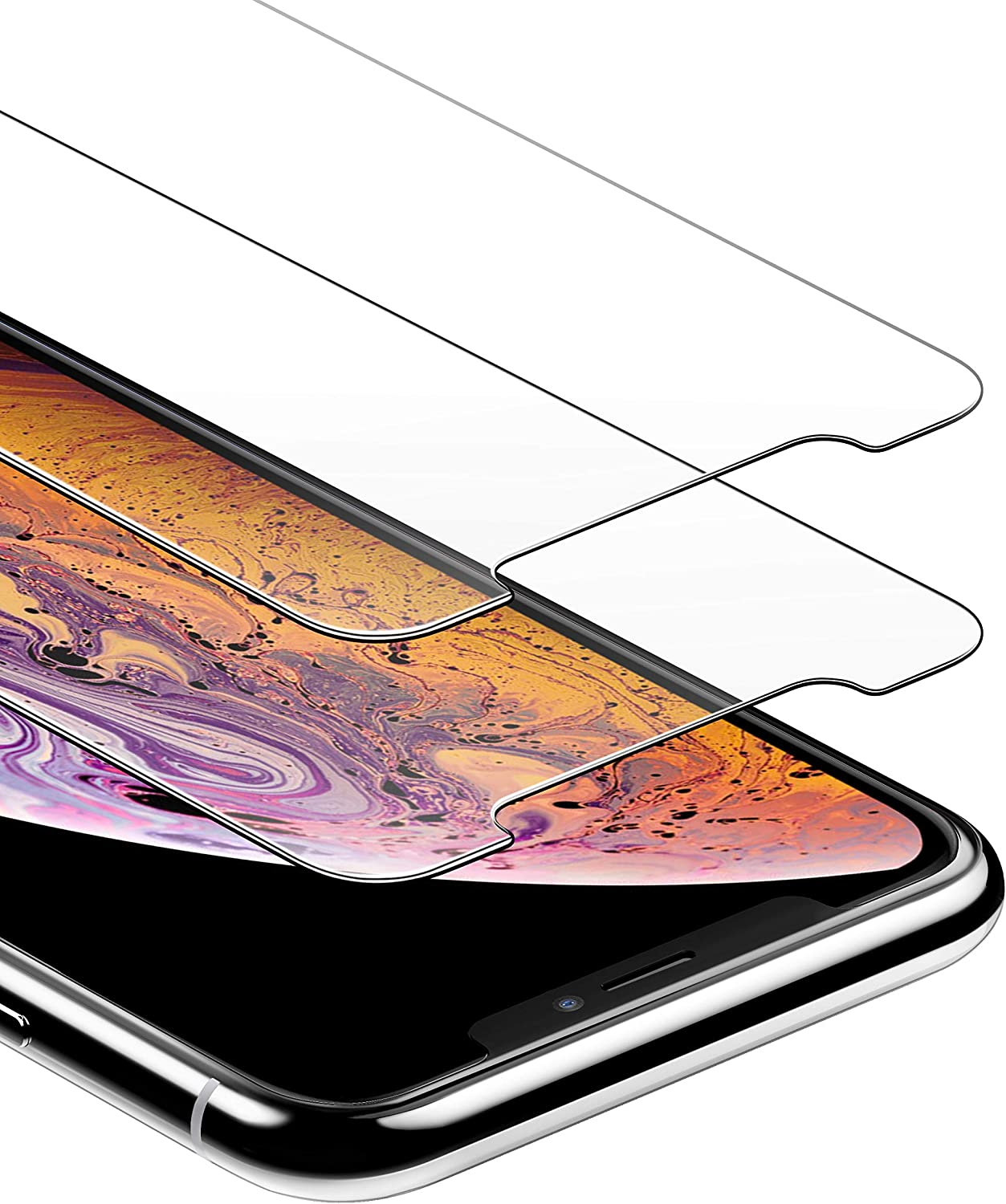 Anker GlassGuard Screen Protector for iPhone X/iPhone Xs/iPhone 5.8 Inch with Alignment Frame for Easy, Bubble-Free Installation and DoubleDefence Tempered Glass [Case Friendly] [2-Pack]