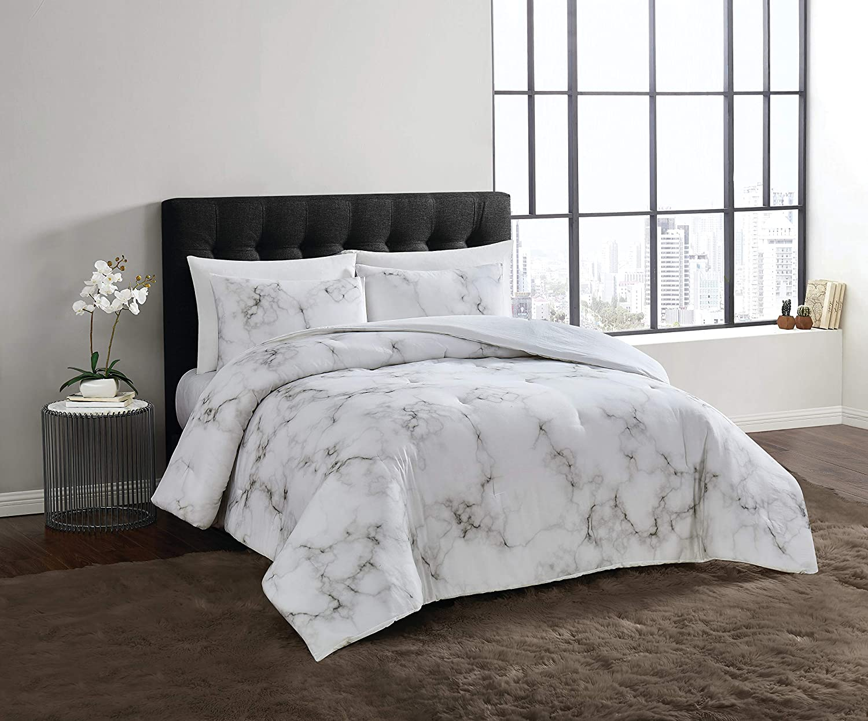Vince Camuto Amalfi Comforter Set, King, White/Black