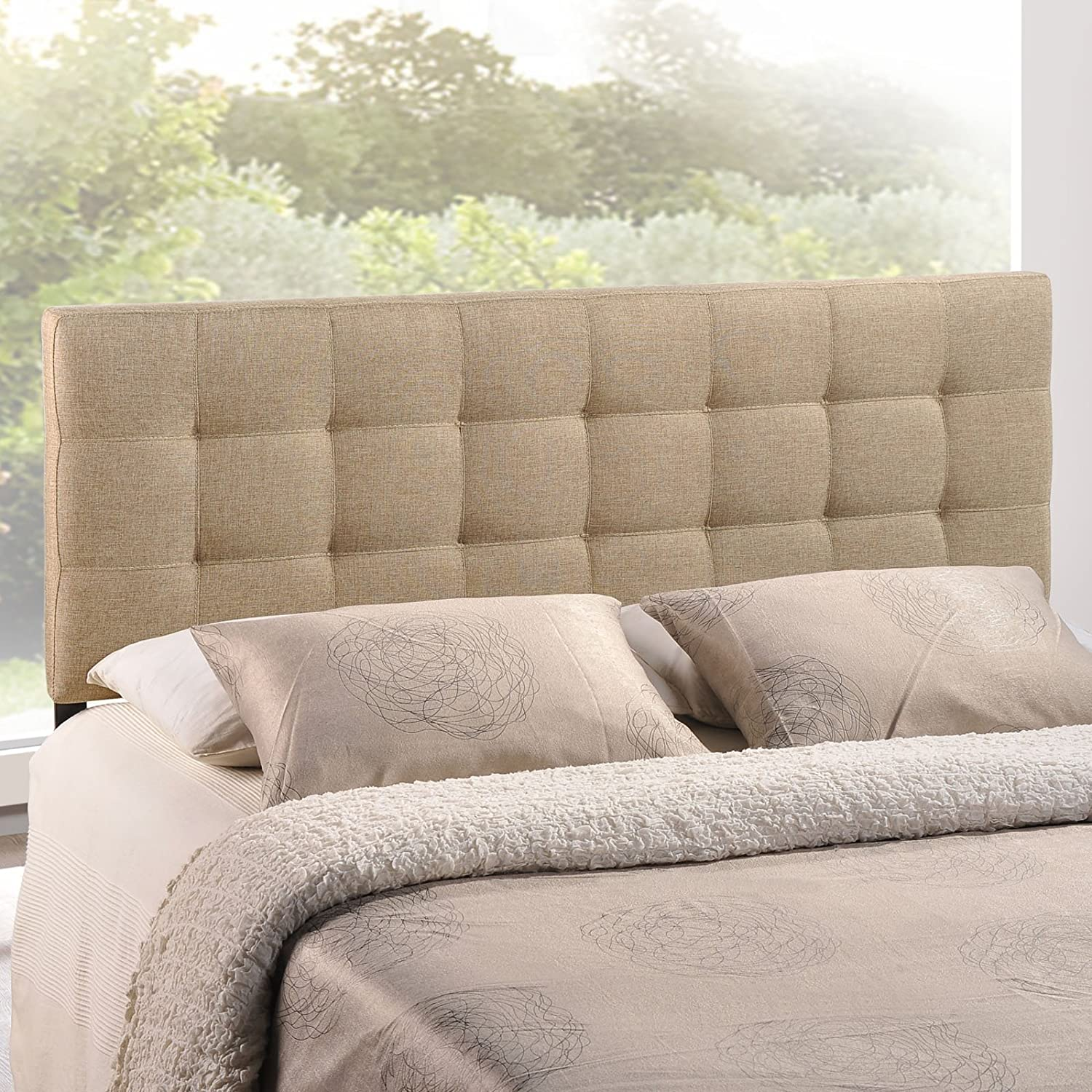 Amazon Com Modway Lily Upholstered Tufted Linen Full Headboard