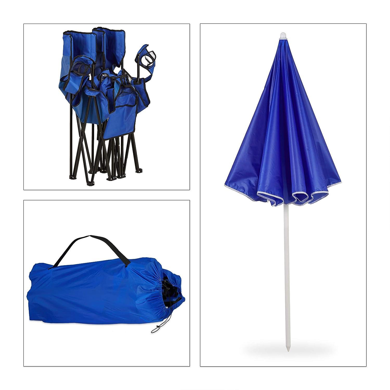 Bleu Relaxdays Chaise de Camping Double Fauteuil de Jardin Set de 2 Pliable Parasol glaci/ère Rangement