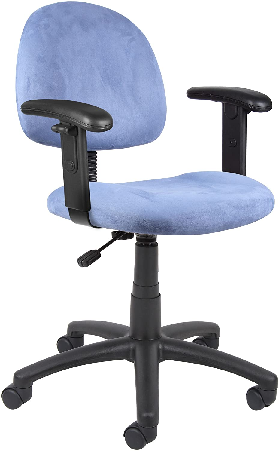 Boss Office Products Perfect Posture Delux Microfiber Task Chair with Adjustable Arms in Blue