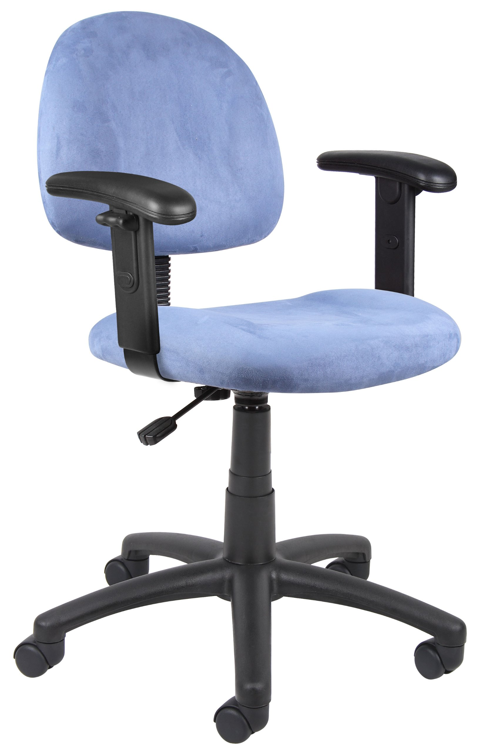 Boss Office Products B326-BE Perfect Posture Delux Microfiber Task Chair with Adjustable Arms in Blue