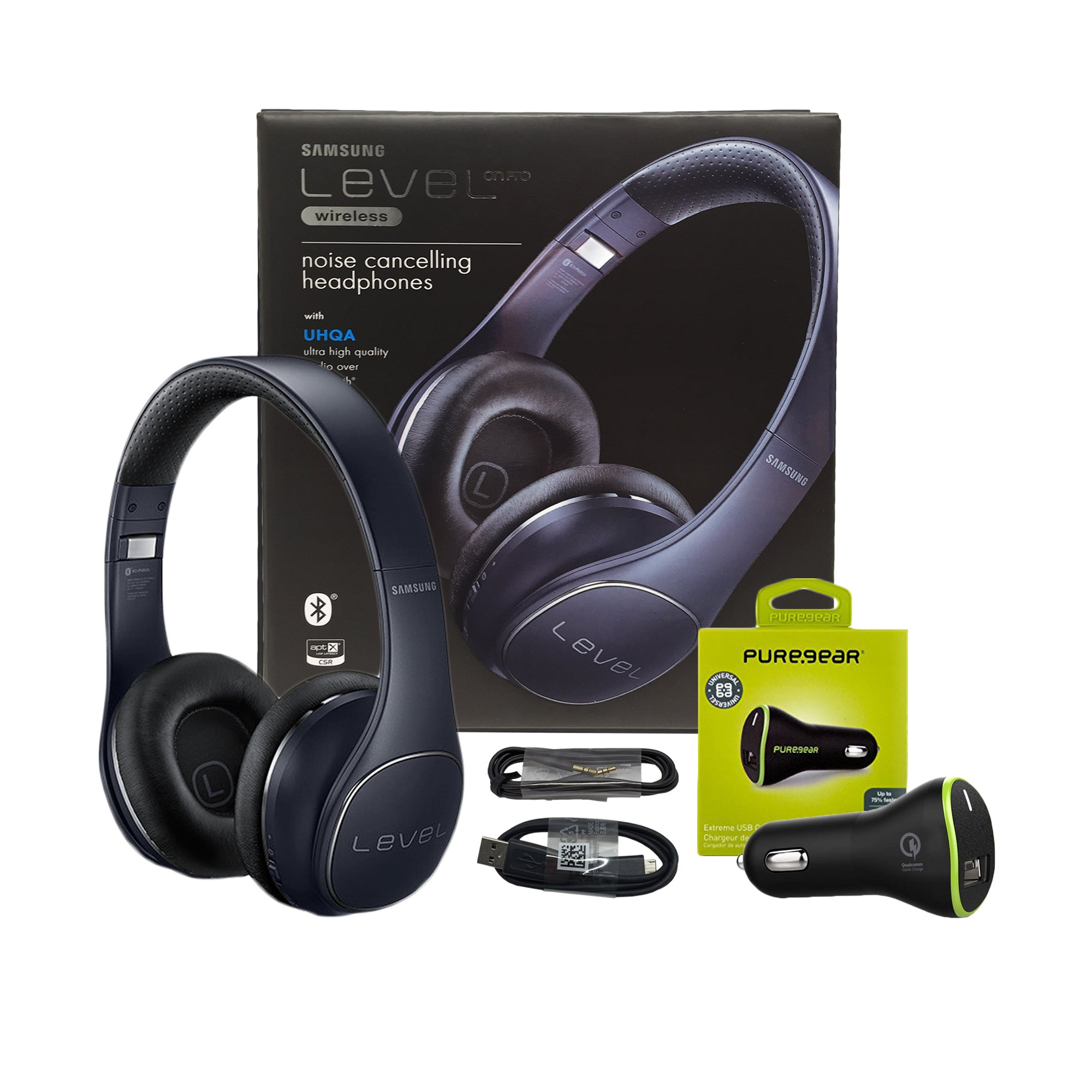 Samsung Level On PRO Black - Wireless ''Noise Cancelling'' Headphones with Microphone and UHQ with Puregear Quick Universal Car Charger (US Bundle Retail Packing)