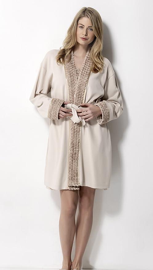 Luisa Moretti Women\'s Dressing Gown beige beige, COTTON, beige ...