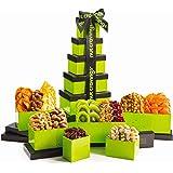 Dried Fruit & Nut Gift Basket, Green Tower + Ribbon (12 Piece Assortment) - Rosh Hashanah Arrangement Platter, Care Package V