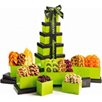 Holiday Dried Fruit & Nut Gift Basket, Green Tower (12 Mix) - Thanksgiving, Christmas, Xmas Food Arrangement Platter…