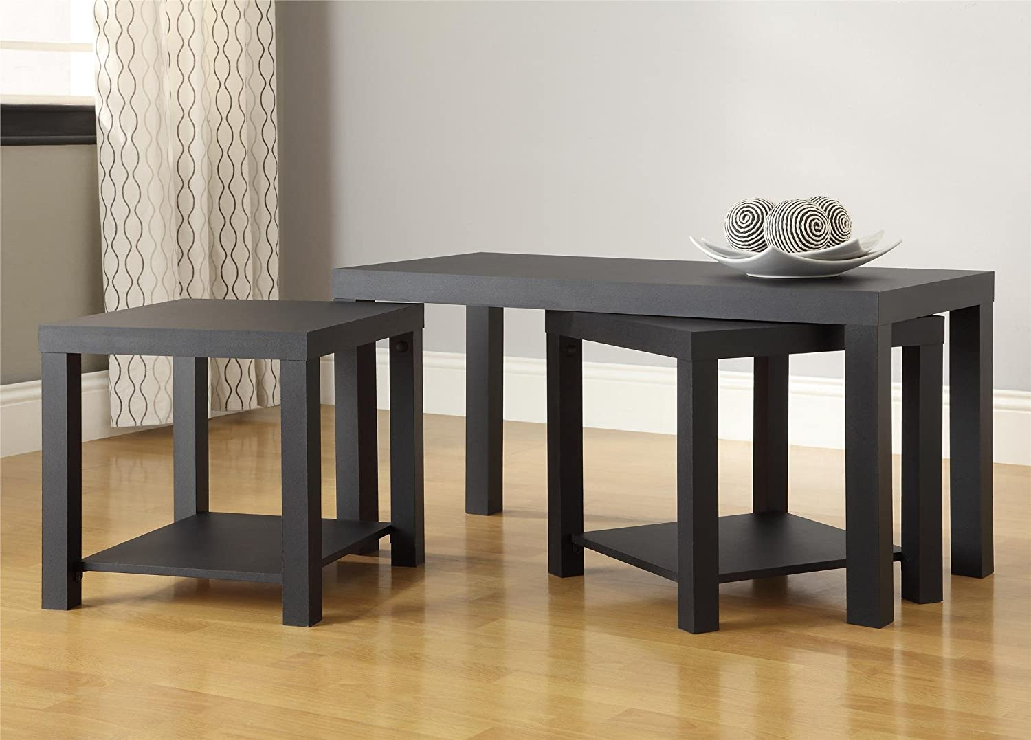 amazoncom ameriwood home holly bay coffee table and end table set black kitchen u0026 dining