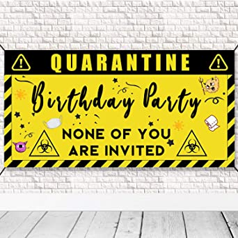 Yellow Quarantine Birthday Banner Quarantine Birthday Party Decorations Quarantine Birthday Backdrop Party Favors Happy Birthday Party Supplies Lockdown Stay at Home Party Supplies