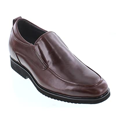 CALTO Men's Invisible Height Increasing Elevator Shoes - Dark Brown Premium Leather Slip-on Dress Style Formal Loafers - 2.8 Inches Taller - T54010 | Loafers & Slip-Ons