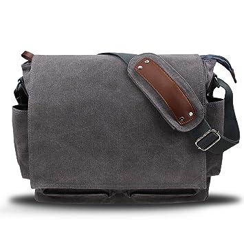 HASAGEI Umhängetasche Herren Herrentasche kuriertasche Herren Umhängetaschen Leinwand Vintagem Schultertaschen Messenger Bag (15.6 zoll, Grau)