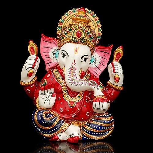 CraftVatika Colored Statue Lord Ganesh Ganpati Elephant Hindu God Made from Stone Painted Idol