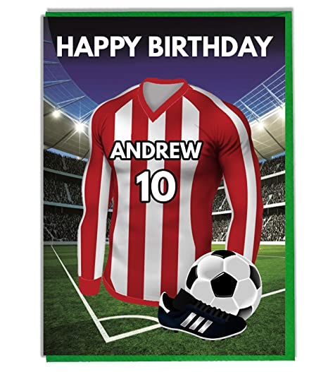 Personalised Football Themed Birthday Card For