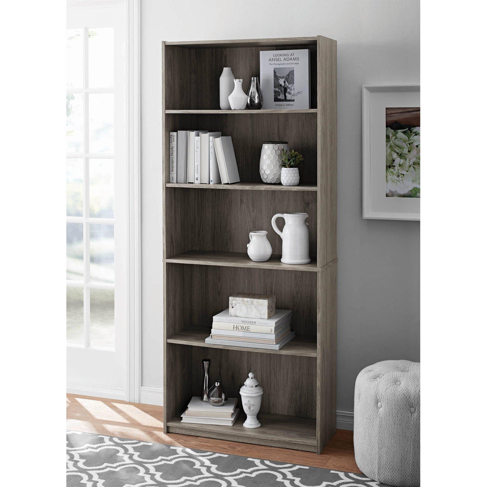 Mainstay` 5-Shelf Wood Bookcase in Rustic Oak